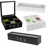 Teekiste Teekasten mit 6 oder 9 Fächern in Schwarz oder Weiß mit Glasdeckel