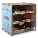 Stapelbares Weinregal für 12 Weinflaschen aus Holz im Shabby Chic Look in weiß oder blau