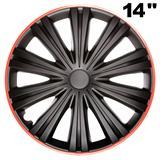 """14\'\', 15"""" und 16\'\' Zoll Radkappen Radzierblenden Giga R schwarz/rot"""