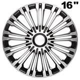 """14"""", 15\'\' und 16\'\' Zoll Radkappen Radzierblenden Volante schwarz/silber"""