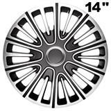 """14"""", 15\'\' und 16\'\' Zoll Radkappen Radzierblenden Motion schwarz/silber"""