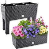 Polyrattan-Blumenbank mit Bewässerung in 2 Größen und Farben