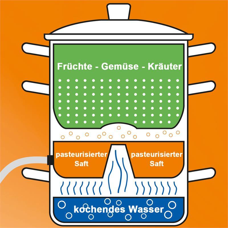 Induktion Dampfentsafter aus Edelstahl Ø2615L Dampf  ~ Entsafter Dampf