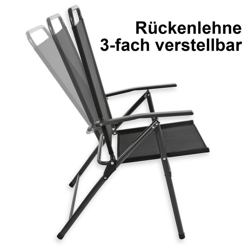 Gartenmöbel Set Glastisch rund Klappstuhl Sitzgruppe ...