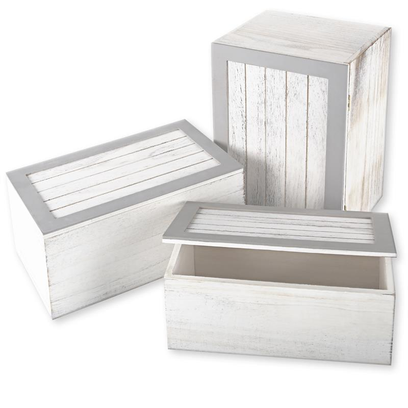 holzkiste 3er set shabby chic kasten truhe deckel vintage. Black Bedroom Furniture Sets. Home Design Ideas