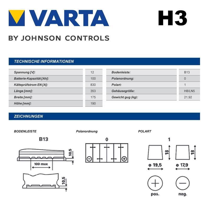 varta silver dynamic batterie 100ah mercedes sl r129. Black Bedroom Furniture Sets. Home Design Ideas