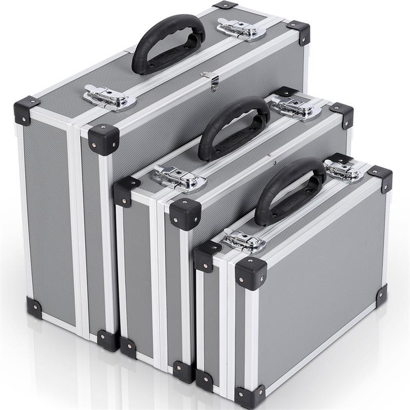 werkzeugkoffer alu koffer 3 in 1 werkzeugkiste aluminium koffer leer silber grau ebay. Black Bedroom Furniture Sets. Home Design Ideas