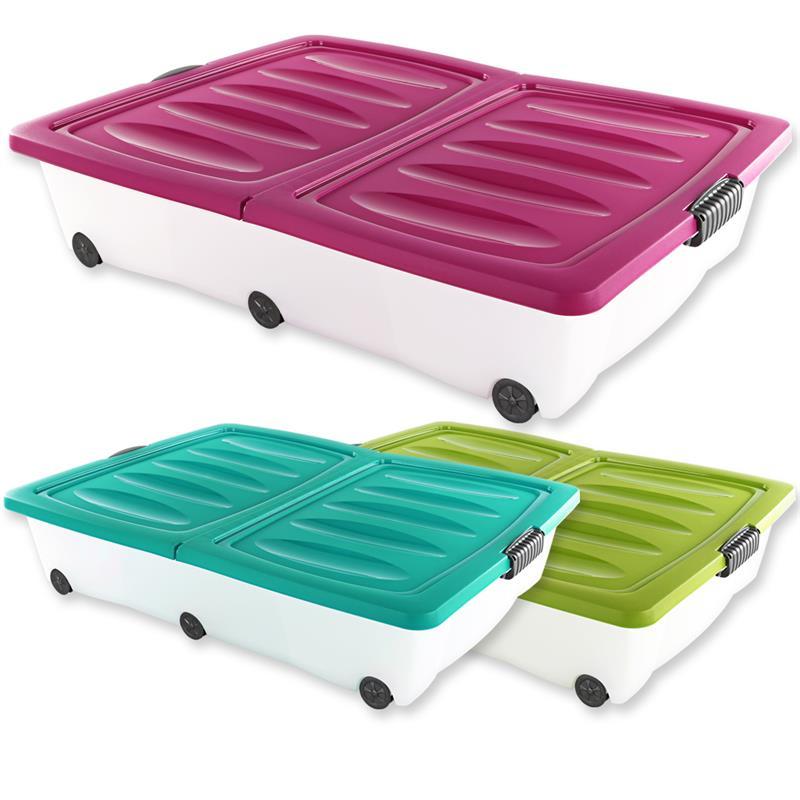 xxl 60 liter unterbettkommode unterbettbox rollenbox spielzeugkiste rollbox ebay. Black Bedroom Furniture Sets. Home Design Ideas