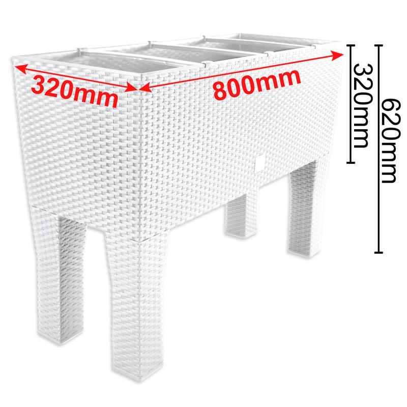 blumenkasten rattanoptik wasserstandsanzeige blumenbank balkon pflanzen k bel ebay. Black Bedroom Furniture Sets. Home Design Ideas