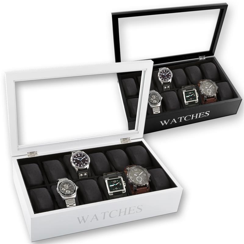 Uhrenbox 12 Uhren Schwarz Wei 223 Uhrenkasten Uhrenkoffer Uhrenschatulle Uhrentruhe Ebay