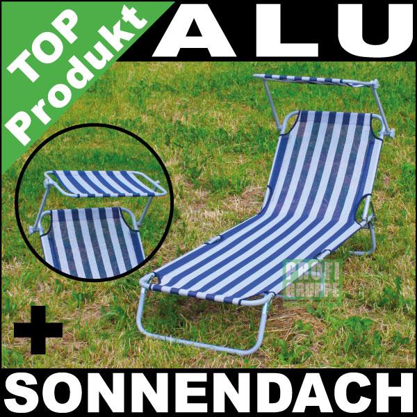 alu sonnenliege mit sonnendach dreibeinliege liege strandliege blau wei ebay. Black Bedroom Furniture Sets. Home Design Ideas