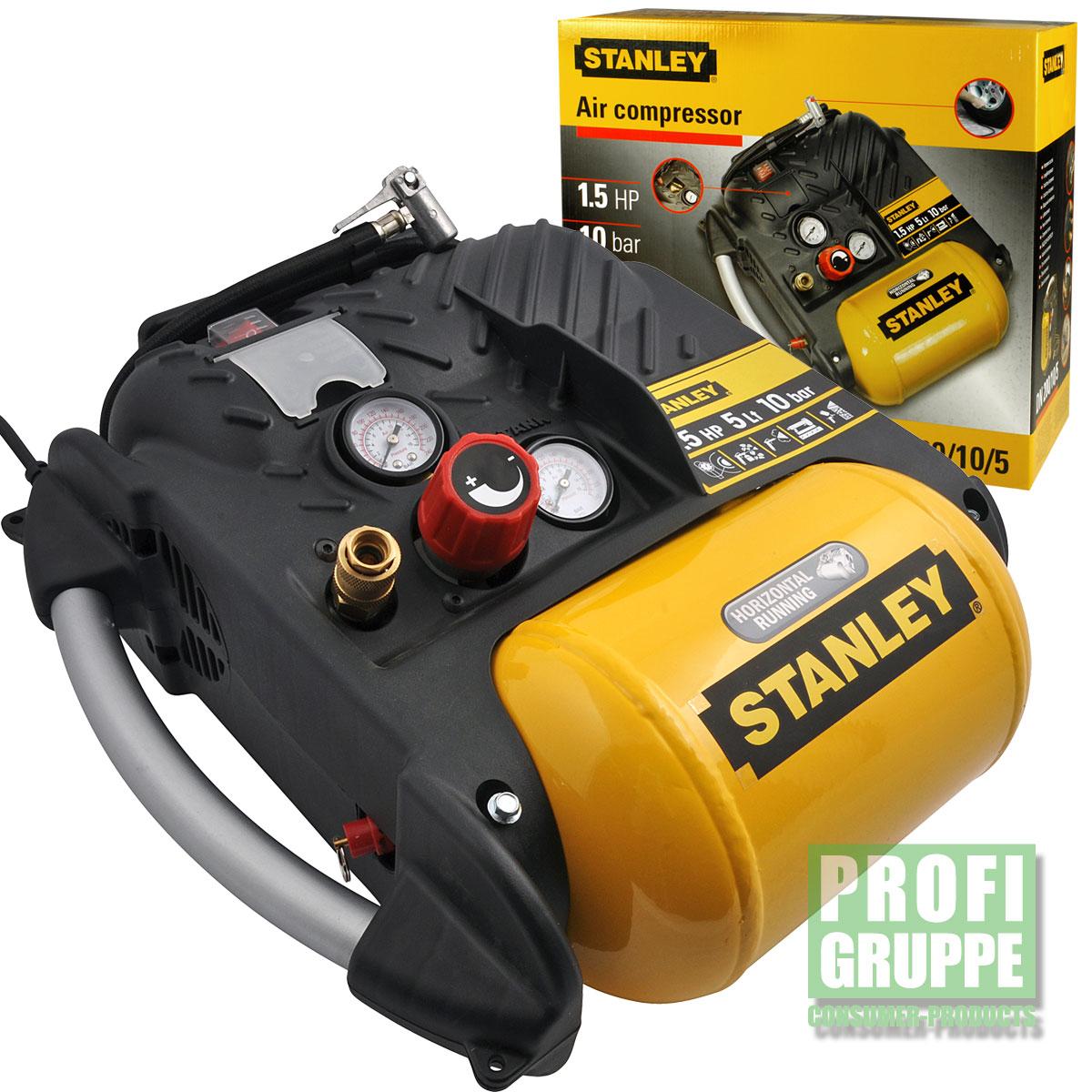 Stanley-Druckluft-Kompressor-1100W-10-bar-5-Liter-1-5-PS-Luftkompressor