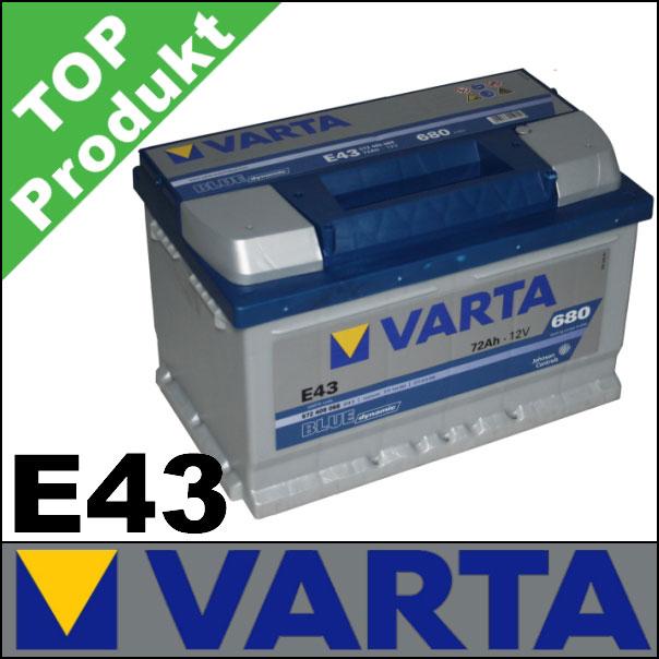 autobatterie batterie varta e43 blue dynamic 72 ah 72ah ebay. Black Bedroom Furniture Sets. Home Design Ideas