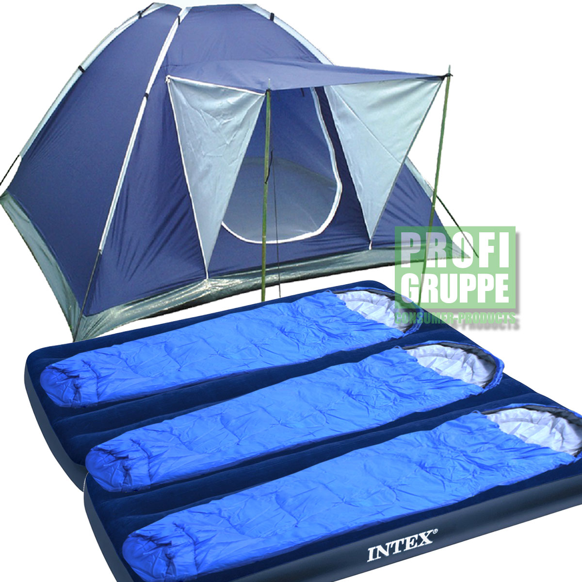 premium camping set 3 personen iglu zelt 2x intex luftbett 3x schlafsack ebay. Black Bedroom Furniture Sets. Home Design Ideas