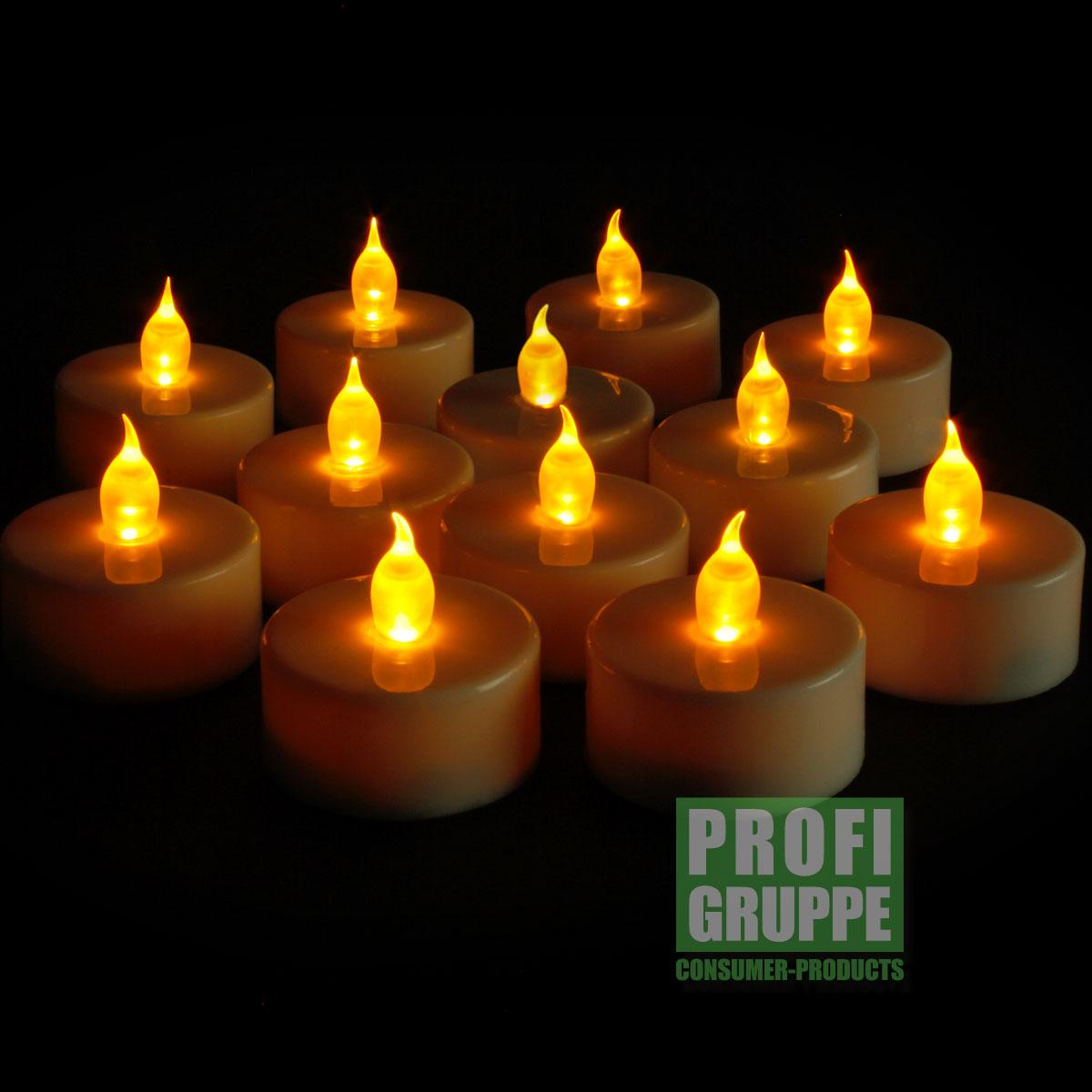 12-x-LED-Teelicht-flackernd-Teelichter-elektrische-Kerze-inkl-Batterien-Neu